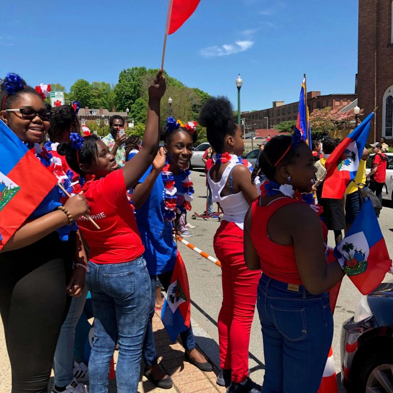 Global City Norwich 2019 Haitian Festival Young Girls with Flag